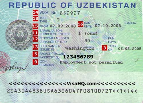 Образец визы Узбекистан
